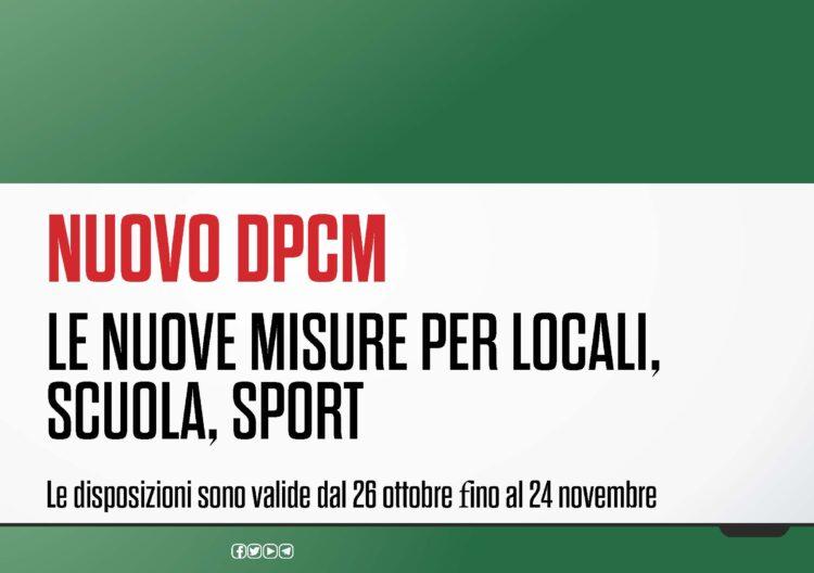 Firmato nuovo DPCM: le nuove misure valide fino al 24 novembre 2020
